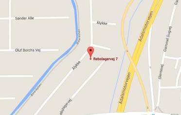 Google Maps kort over Erenfred Pedersen A/S i Aalborg